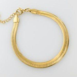 18K Gold Stainless Steel Herringbone Bracelet NEW